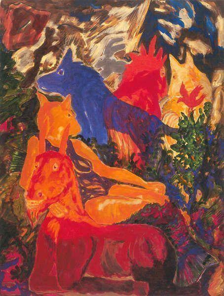 """Alfred Klinkan, Ohne Titel (Aus der """"Sommerserie""""), 1983, Öl/Lw, Foto: J. Koinegg/Neue Galerie Graz)"""