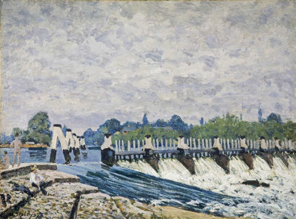 Alfred Sisley, Molesey Wehr, Hampton Court, Morgen, 1874, Öl/Lw, 51,1 x 68,8 cm (National Galleries of Scotland (Edinburgh UK)