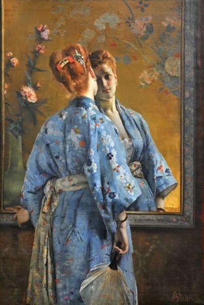 Alfred Stevens, Die japanische Pariserin, 1872, Öl auf Leinwand, 150 x 105 cm (Musée des Beaux-Arts de La Boverie, Liège © Liège, Musée des Beaux-Arts – La Boverie)