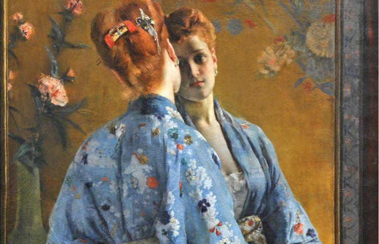 Alfred Stevens, Die japanische Pariserin, Detail, 1872, Öl auf Leinwand, 150 x 105 cm (Musée des Beaux-Arts de La Boverie, Liège © Liège, Musée des Beaux-Arts – La Boverie)