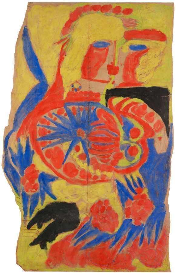Aloïse Corbaz, genannt Aloïse, Blühende Kuss-Szene in Gouache, 1947, Grafitstift und Gouache auf Papier (Foto: Olivier Laffely, AN, Collection de l'Art Brut, Lausanne, © Association Aloïse)