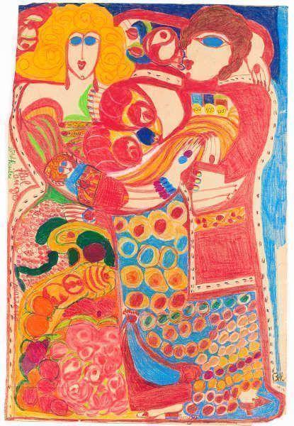 Aloïse Corbaz, Bal tango – Hôtel Rosière, 1960–1963, Farbkreiden, Farbstifte, Bleistift auf Papier (Kunstmuseum Solothurn, Schenkung Etienne und Jacqueline Porret-Forel, 1995 © Fondation Aloïse, Chigny Foto © Kunstmuseum Solothurn)