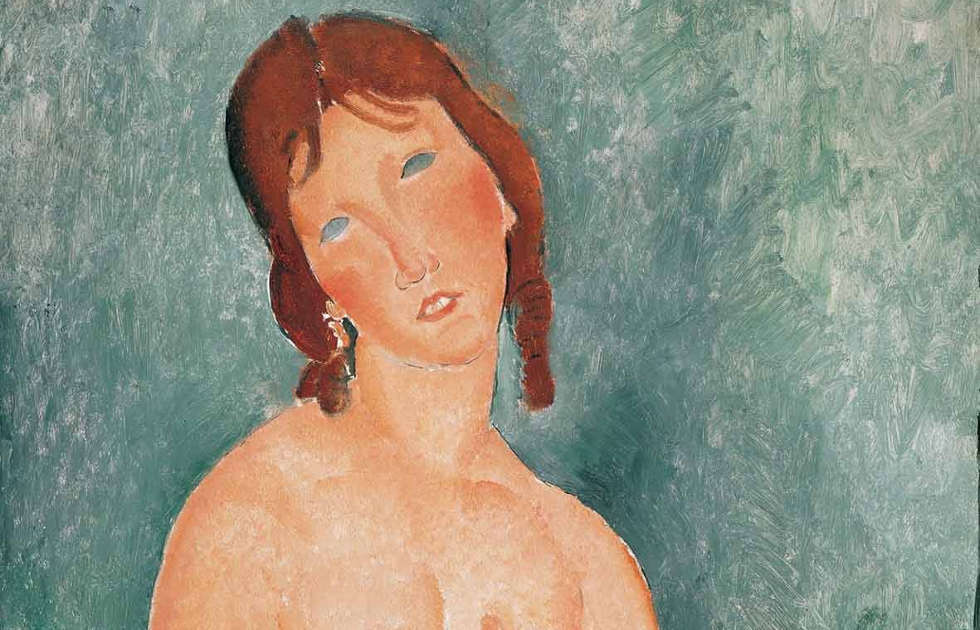 Amedeo Modigliani, Junge Frau in Hemd, Detail, 1918 (Albertina, Wien, Sammlung Batliner)