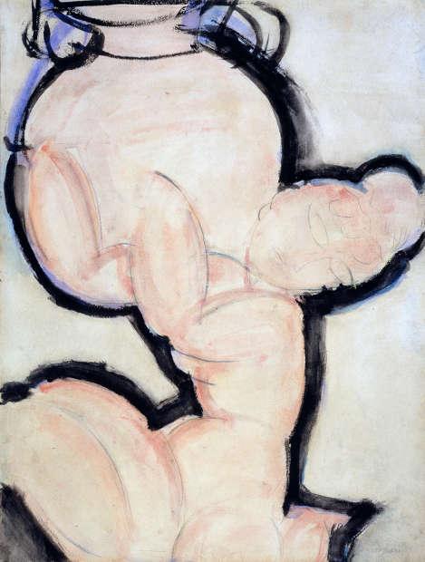 Amedeo Modigliani, Karyatide mit Vase, um 1914, Aquarell, Bleistift und blauer Buntstift auf Papier (Tate, Bequeathed by Mrs A.F. Kessler 1983 © Tate, London)