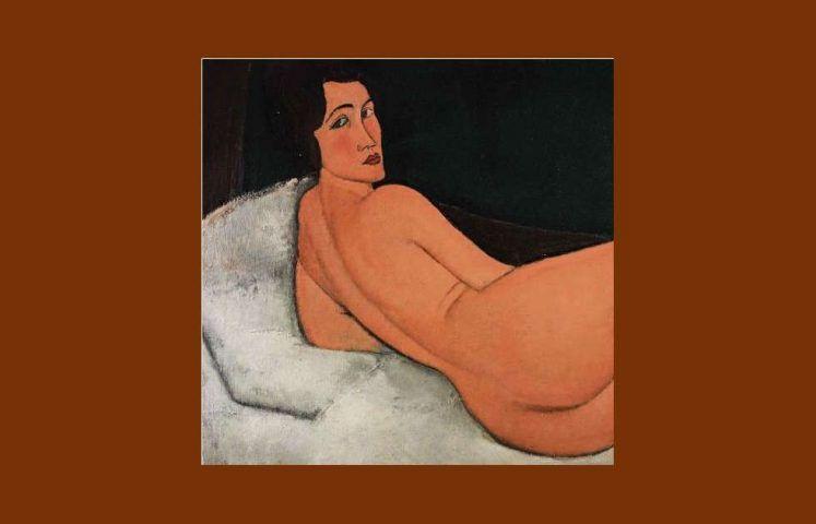 Amedeo Modigliani, Nu couche (sur le cote gauche) [Liegender Akt], Detail, 1917, Öl/Lw, 89.5 x 146.7 cm (Privatsammlung)