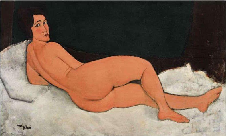 Amedeo Modigliani, Nu couche (sur le cote gauche) [Liegender Akt], 1917, Öl/Lw, 89.5 x 146.7 cm (Privatsammlung)