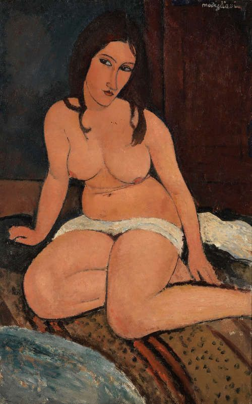 Amedeo Modigliani, Sitzender Akt, 1917, Öl/Lw, 114 x 74 cm (Royal Museum of Fine Arts Antwerp, Lukasart in Flanders, Photo credit: Hugo Maertens)