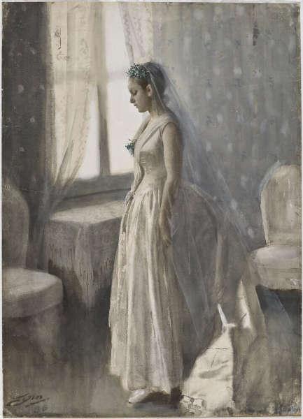 Anders Zorn, Die Braut, 1886, Aquarell, 85 x 63 cm (Nationalmuseum, Stockholm)