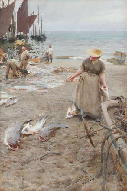 Anders Zorn, Fischmarkt in St. Ives, 1888, Aquarell, 100 x 76,5 cm (Privatsammlung)
