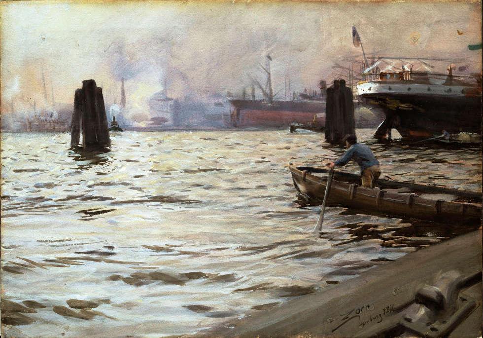Anders Zorn, Hamburger Hafen, 1891, Aquarell, 46,5 x 67 cm (Schwedisches Nationalmuseum, Stockholm)