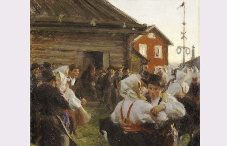 Anders Zorn, Mitsommer Tanz, Detail, 1897, Öl/Lw, 140 x 98 cm (Nationalmuseum, Stockholm)