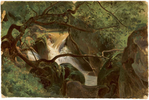 André Giroux, Waldeinblick mit einem Wasserfall, Papigno, 1825/30, Öl/Papier, 29.5 x 44.5 cm (National Gallery of Art, Washington, Gift of Mrs. John Jay Ide in memory of Mr. and Mrs. William Henry Donner)