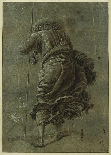 Andrea Mantegna, Der Abstieg Christi in die Vorhölle, um 1490, Pinsel und Dunkelbraun und Grau, weiß gehöht, auf blau gestrichenem Papier, 28,3 × 20,1 cm (Kupferstichkabinett, Staatliche Museen zu Berlin (KdZ 622)