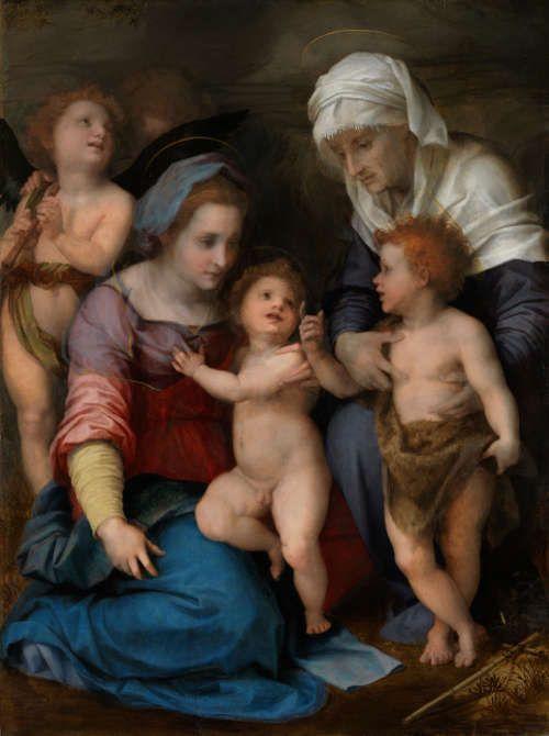 Andrea del Sarto, Heilige Familie, um 1514/15, Pappelholz, 137,6 × 104,3 × 3,5 cm (Alte Pinakothek, München)