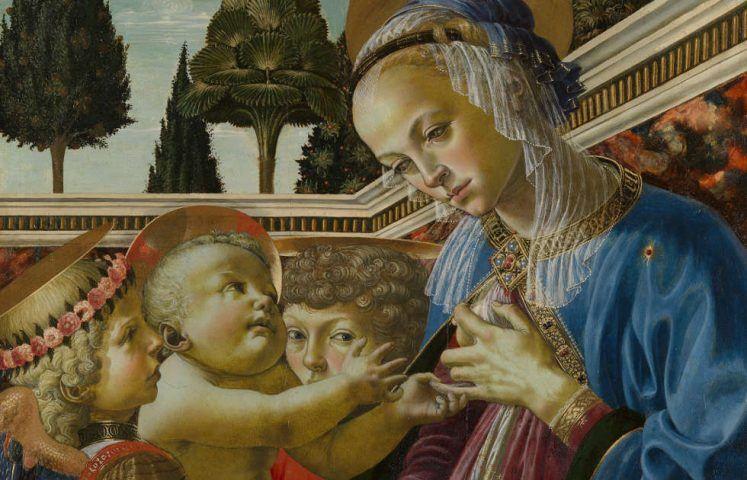 Andrea del Verrocchio und Werkstatt, Maria mit Kind und zwei Engeln, um 1467-1469, Holz, 69,2 x 49,8 cm (London, The National Gallery © The National Gallery)