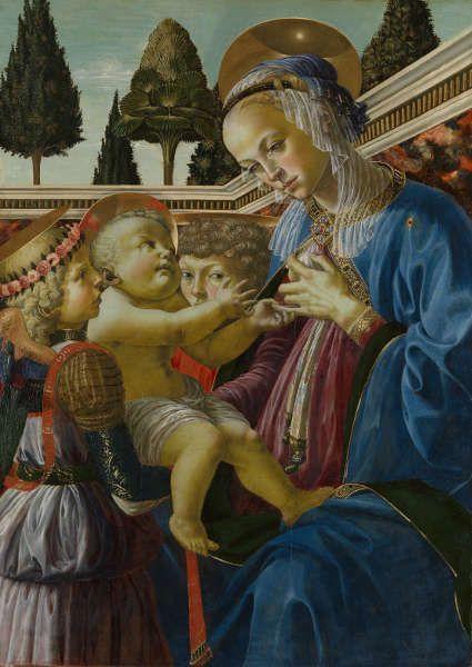 Andrea del Verrocchio und Werkstatt, Maria mit Kind und zwei Engeln, um 146769, Holz, 69,2 x 49,8 cm (London, The National Gallery © The National Gallery)