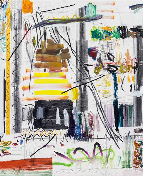 Andreas Breunig, Hi_LoRes No. 58, 2019, Öl, Graphit und Kohle/Lw, 210 x 170 cm (Courtesy Nino Mier Collection, © Andreas Breunig, Foto: Johannes Bendzulla)