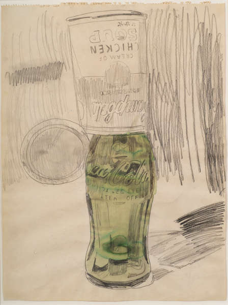 Andy Warhol, Campbell's Soup Can over Coke Bottle, 1962, Graphit, Aquarell/Papier, 59.7 × 45.1 cm (The Brant Foundation, Greenwich, CT © The Andy Warhol Foundation for the Visual Arts, Inc. / Artists Rights Society (ARS) New York)