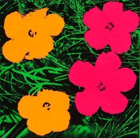 Andy Warhol, Flowers, 1964, Fluoreszierende Farbe, Siebdruck/Lw, 61 x 61 cm (The Art Institute of Chicago; gift of Edlis/Neeson Collection, 2015.123 © The Andy Warhol Foundation for the Visual Arts, Inc. / Artists Rights Society (ARS), New York)
