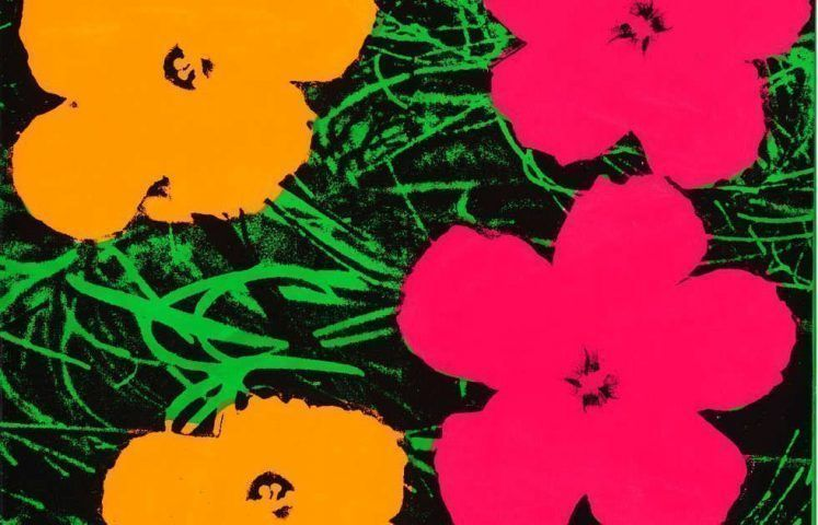 Andy Warhol, Flowers, Detail, 1964, Fluoreszierende Farbe, Siebdruck/Lw, 61 x 61 cm (The Art Institute of Chicago; gift of Edlis/Neeson Collection, 2015.123 © The Andy Warhol Foundation for the Visual Arts, Inc. / Artists Rights Society (ARS), New York)