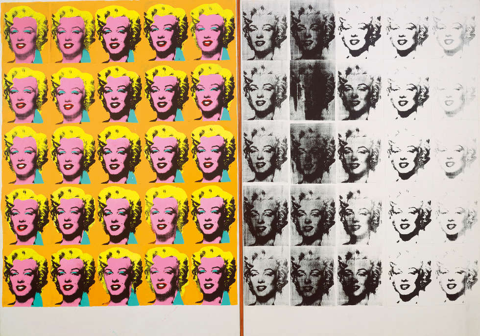 Andy Warhol, Marilyn Diptych, 1962, Acryl, Siebdruck, Graphit/Lw, zweiteilig, 205.4 x 289.6 cm gesamt (Tate, London; purchase 1980 © The Andy Warhol Foundation for the Visual Arts, Inc. / Artists Rights Society (ARS) New York)