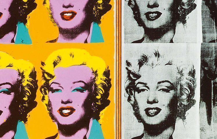 Andy Warhol, Marilyn Diptych, Detail, 1962, Acryl, Siebdruck, Graphit/Lw, zweiteilig, 205.4 x 289.6 cm gesamt (Tate, London; purchase 1980 © The Andy Warhol Foundation for the Visual Arts, Inc. / Artists Rights Society (ARS) New York)