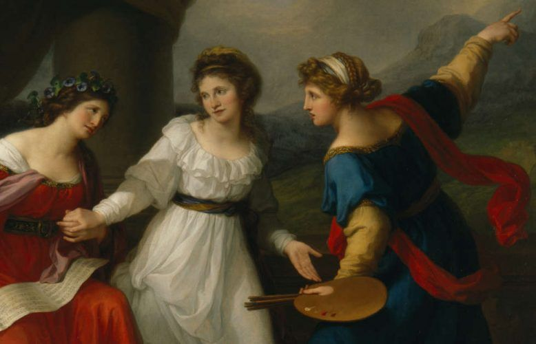 Angelika Kauffmann, Selbstporträt der Künstlerin am Scheideweg zwischen Musik und Malerei, Detail, Rom 1794, Öl/Lw, 147,3 x 215,9 cm (Nostell Priory, West Yorshire © National Trust Images/John Hammond)