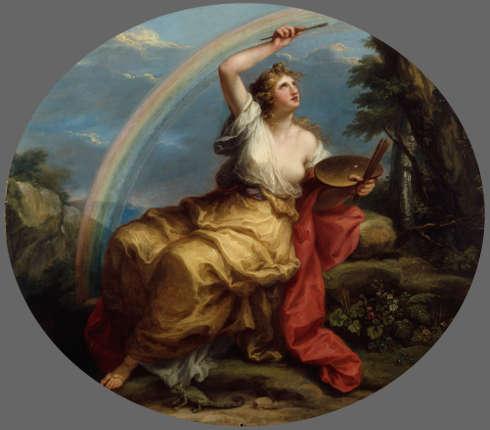 Angelika Kauffmann, Farbe – Colouring, ab 1778/vor Mai 1780, Öl/Lw, queroval, 130 x 149,5 cm (Royal Academy of Arts, London © Royal Academy of Arts, London/ Foto: John Hammond)