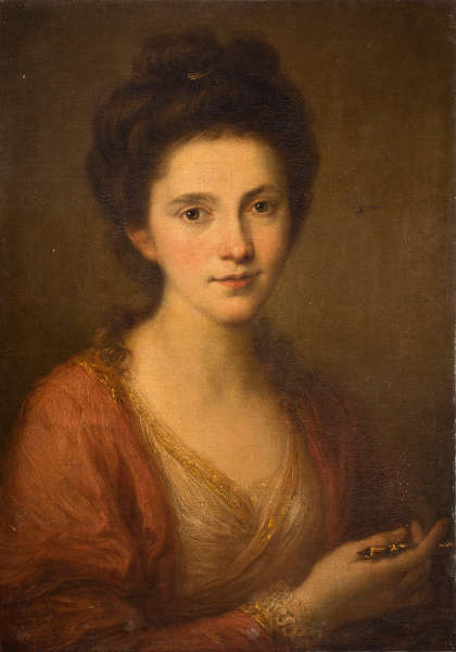 Angelika Kauffmann, Selbstbildnis mit Zeichengriffel, um 1768, Öl/Lw, 60,8 x 43,4 cm (Privatsammlung, © Privatsammlung/ Foto: AKRP, Justin Piperger)