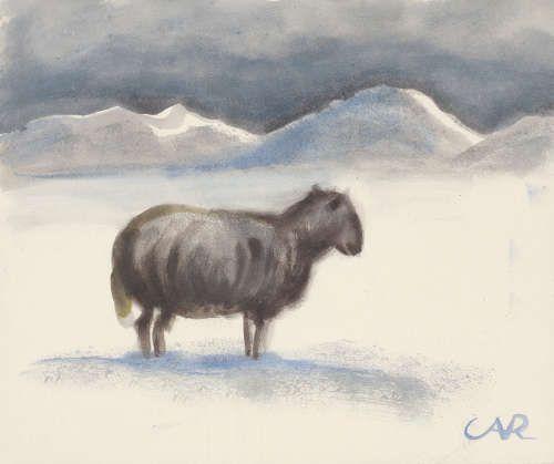 Anita Rée, Verirrtes Schaf in verschneiten Dünen, 1932/33, Aquarell, 25 x 29,5 cm (Privatbesitz, Foto: Christoph Irrgang)