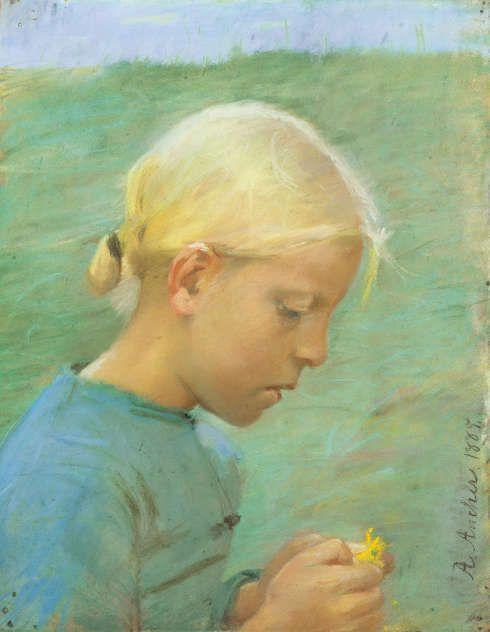 Anna Ancher, Kleines Mädchen mit Blumen, 1885 (Skagens Kunstmuseer)