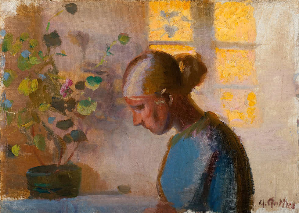 Anna Ancher, Studie einer Näherin in Blau (Skagens Kunstmuseer)