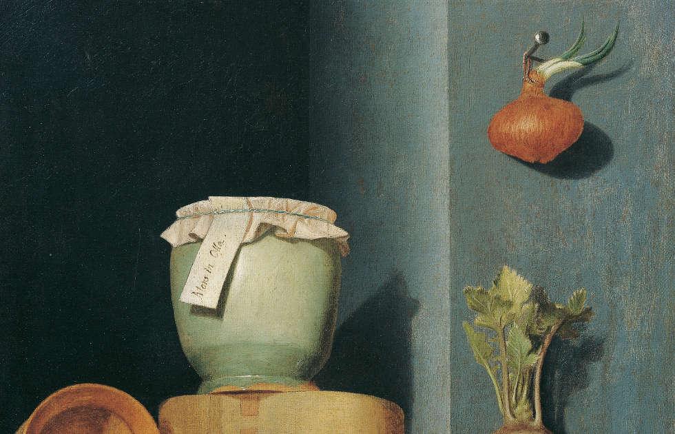 Anna Maria Punz, Stillleben mit Küchengeschirr, Zwiebel und Kohlrabi, Detail, 1754, Öl auf Leinwand, 53 x 43,5 cm (Belvedere, Wien)