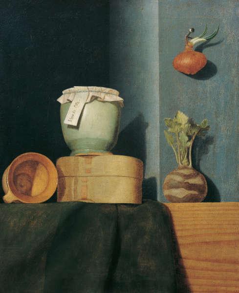 Anna Maria Punz, Stillleben mit Küchengeschirr, Zwiebel und Kohlrabi, 1754, Öl auf Leinwand, 53 x 43,5 cm (Belvedere, Wien)