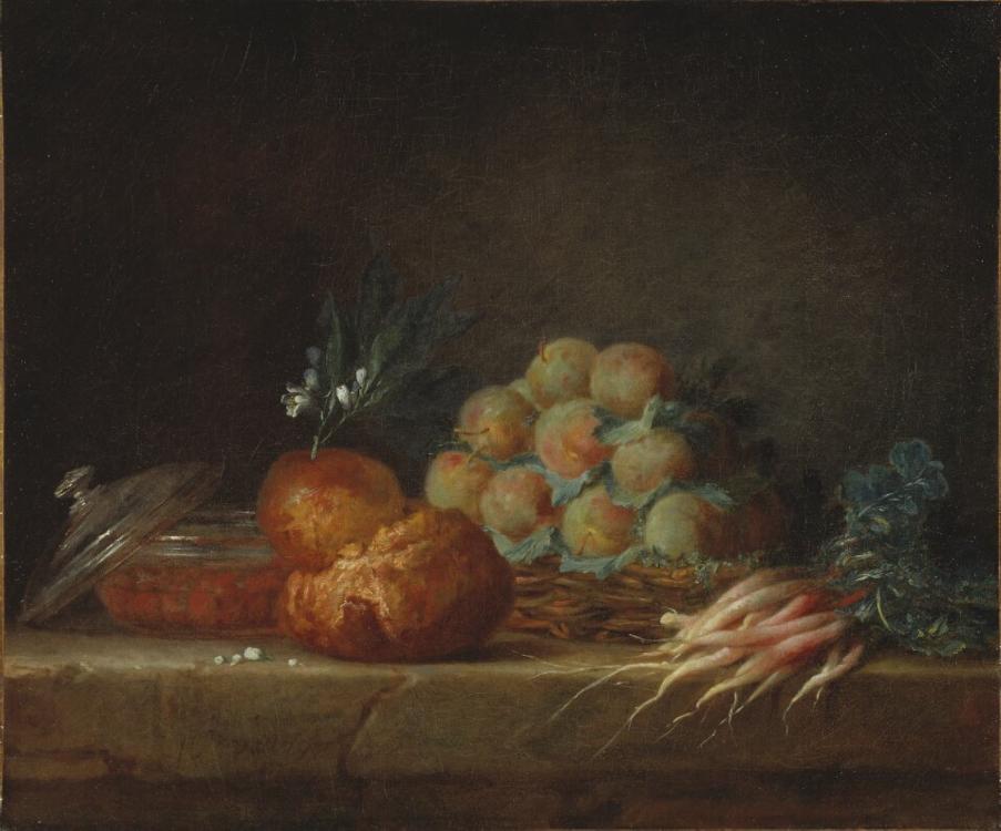 Anne Vallayer-Coster, Stillleben mit Brioche, Früchten und Gemüse, 45,5 x 55 cm (Nationalmuseum, Stockholm)