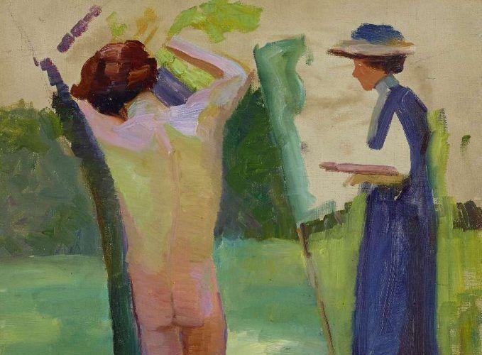 Anonym, Malerin mit Aktmodell, Detail, um 1910, Öl auf Leinwand, 53,2 x 42 cm (Leopold Museum)