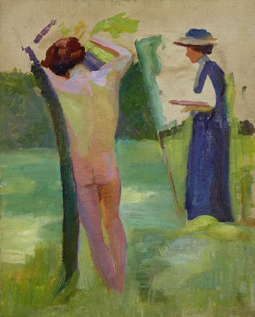 Anonym, Malerin mit Aktmodell, um 1910, Öl auf Leinwand, 53,2 x 42 cm (Leopold Museum)