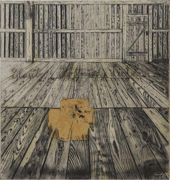 Anselm Kiefer, Glaube, Hoffnung, Liebe, 1973, Kohle, Collage, Hasenblut/Rupfen, 298,5 x 281 cm (Staatsgalerie Stuttgart, © Anselm Kiefer)