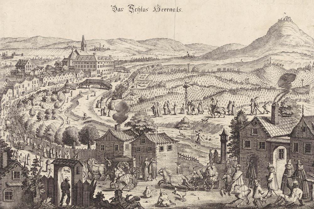 """Ansicht von Hernals, """"Auslaufen"""" der Wiener Protestanten zum Gottesdienst in die evangelische Hochburg © Wien Museum"""