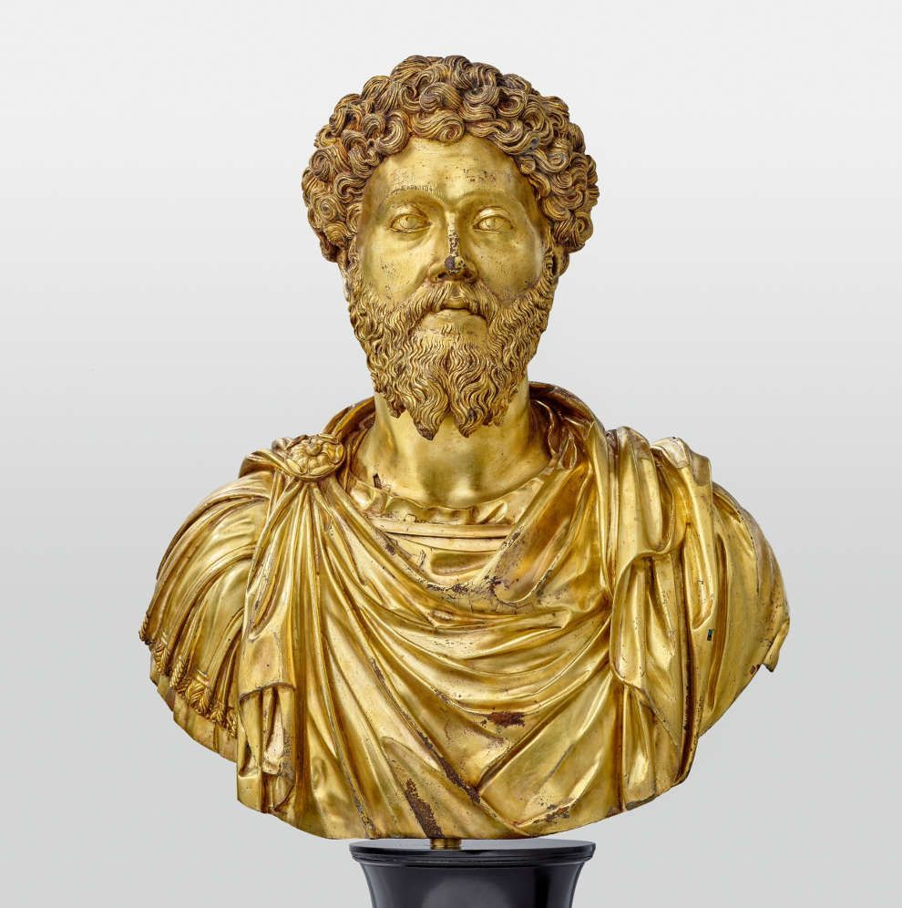 Pier Jacopo Alari-Bonacolsi, gen. Antico, Büste des Marc Aurel, um 1500, Bronze, vergoldet, 72,5 x 60,0 cm (LIECHTENSTEIN. The Princely Collections, Vaduz–Vienna, Inv.-Nr. SK 1630)