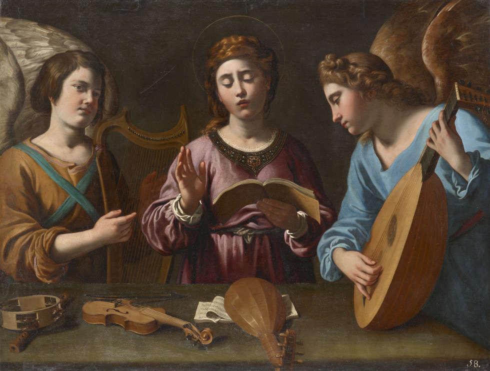 Antiveduto Gramatica, Hl. Cecilia und zwei Engel musizieren, um 1615, Öl/Lw, 91 x 120 cm (Kunsthistorisches Museum, Wien, Gemäldegalerie © KHM-Museumsverband)