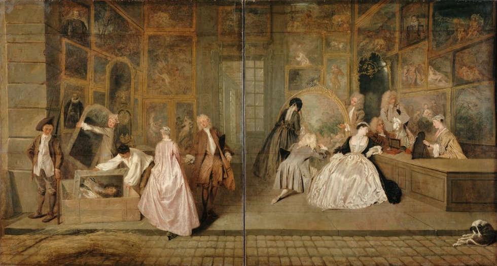 Antoine Watteau, Das Ladenschild des Kunsthändlers Gersaint [L'Enseigne], um 1721/1732 (unbekannter Maler) (© SPSG / Jörg P. Anders)