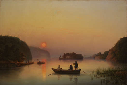 Anton Iwanow-Goluboi, Die Insel Walaam bei Sonnenuntergang, 1845, Öl auf Leinwand, 61 × 91,3 cm (© Staatliche Tretjakow-Galerie, Moskau)