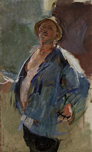 Anton Kolig, Selbstbildnis in blauer Jacke, 1926, Öl auf Leinwand, 126,9 × 78,8 cm (Leopold Museum, Wien © Bildrecht, Wien, 2016)
