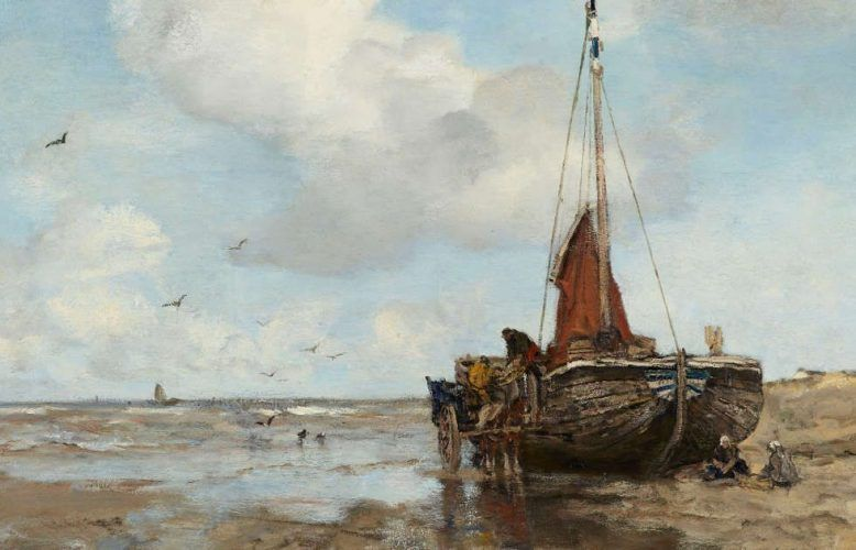 Anton Mauve, Boot am Strand, Detail, 1882, Öl/Lw, 115 x 172 cm (Gemeentemuseum Den Haag. Gift of the Friends of Gemeentemuseum Den Haag, 1887)