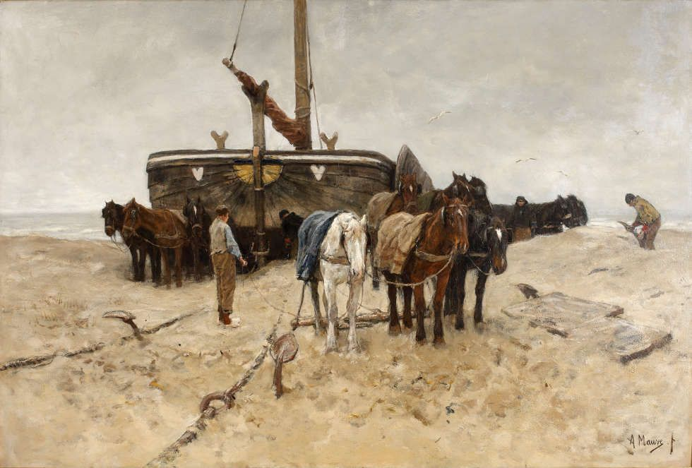 Anton Mauve, Fischerboot am Strand, 1882, Öl/Lw, 115 x 172 cm (Gemeentemuseum Den Haag. Gift of the Friends of Gemeentemuseum Den Haag, 1887)