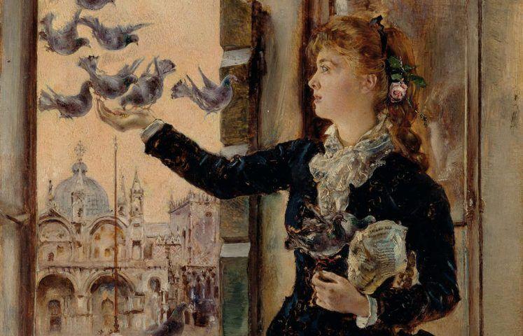 Anton Romako, Mädchen an einem Fenster zum Markusplatz, Tauben fütternd, Detail, um 1875 (Belvedere, Wien)