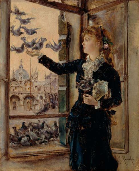 Anton Romako, Mädchen an einem Fenster zum Markusplatz, Tauben fütternd, um 1875 (Belvedere, Wien)