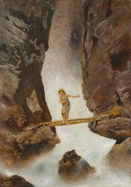 Anton Romako, Mädchen, einen Wildbach überschreitend, 1880/1882, Öl/Lw, 89 × 63,5 cm (Leopold Museum, Wien, Foto Leopold Museum, Wien)