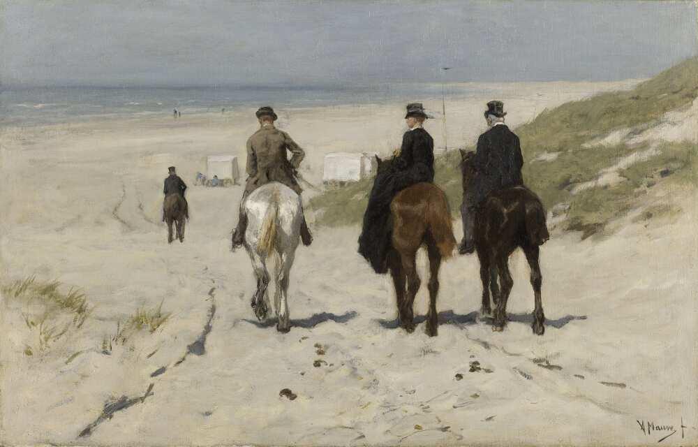Anton Mauve, Morgenritt am Strand, 1876, Öl auf Leinwand, 43,7 × 68,6 cm (Rijksmuseum, Amsterdam)